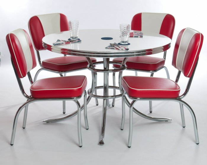 кожаные красные стулья для кухни фото ретро хромированные