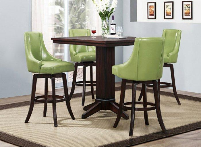 кожаные полубарные стулья для кухни фото деревянные зеленые венге
