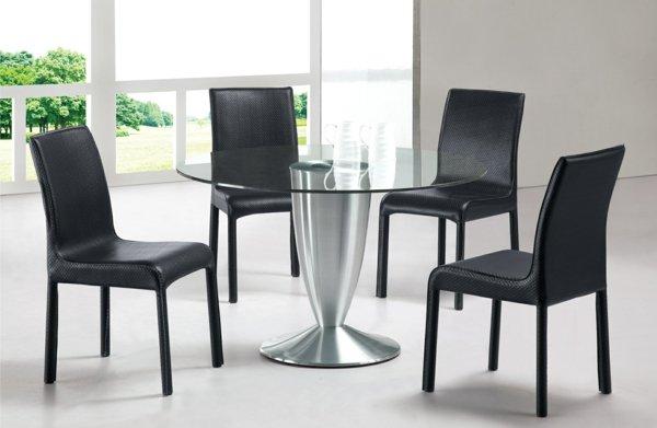 кожаные стулья обеденные для кухни фото черные со стеклянным столом