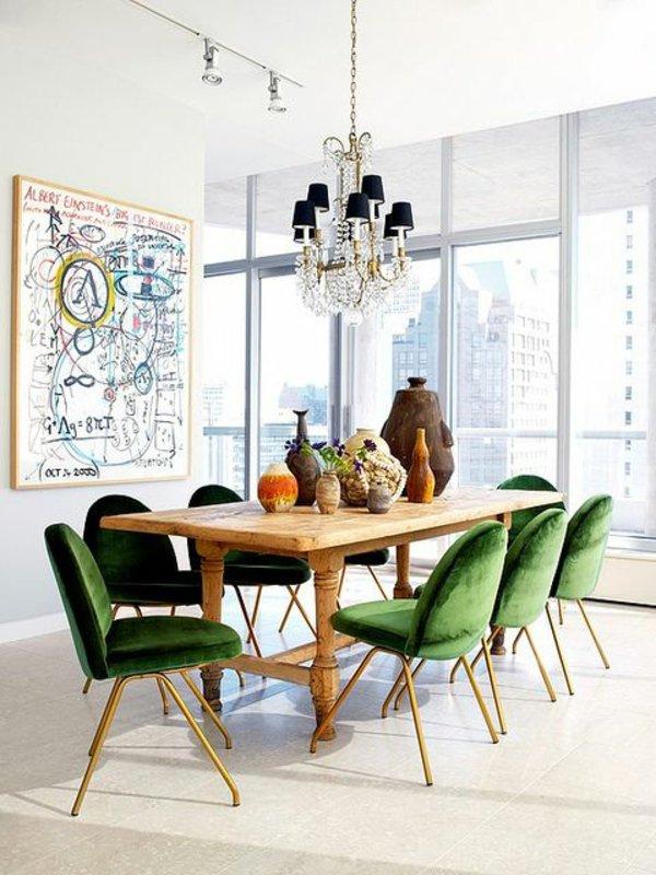 мягкие бархатные обеденные стулья для кухни фото зеленые