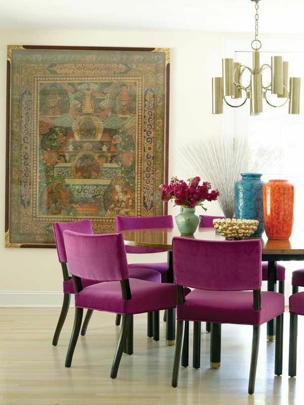 мягкие фиолетовые стулья обеденные для кухни фото