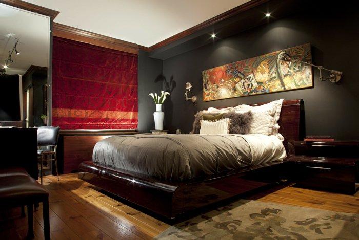 освещение в спальне фото интерьер черная стена
