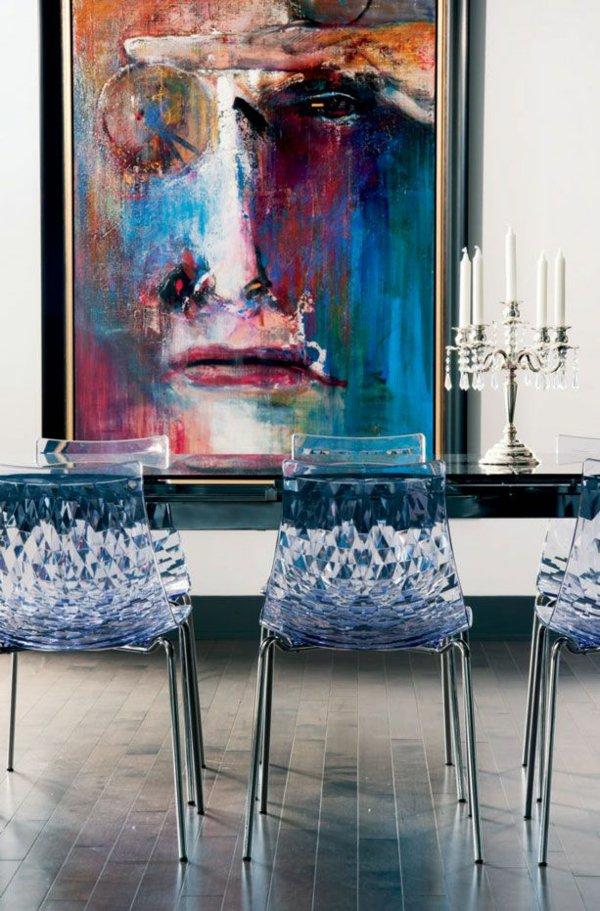 пластиковые прозрачные обеденные стулья для кухни фото кристаллические