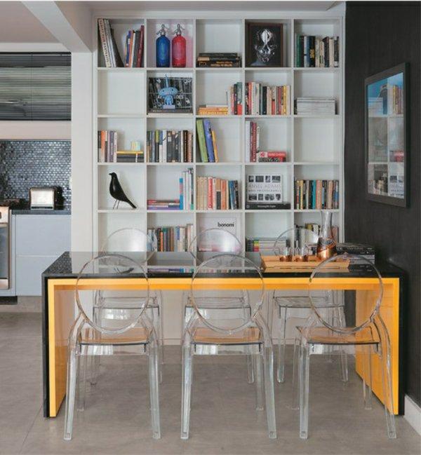 пластиковые прозрачные стулья обеденные для кухни фото