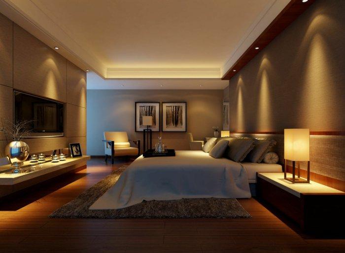 потолок освещение спальня точечное фото