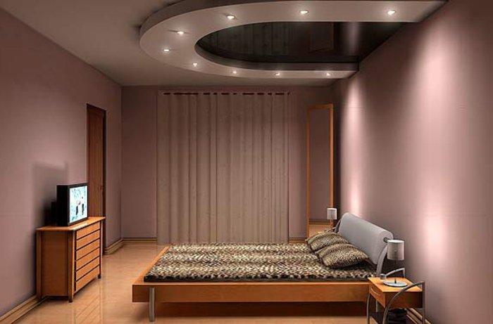 точечное освещения в спальне фото интерьер