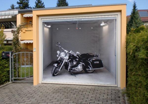 3D наклейки на ворота гаражные идеи фото черно белый мотоцикл
