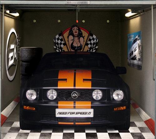 3D наклейки на ворота гаражные идеи фото need for speed гоночная машина