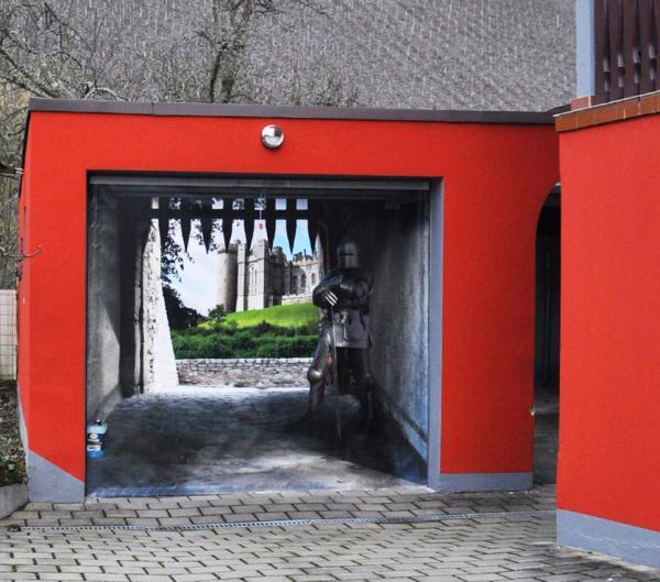 3D наклейки на ворота гаражные идеи фото рыцарский замок
