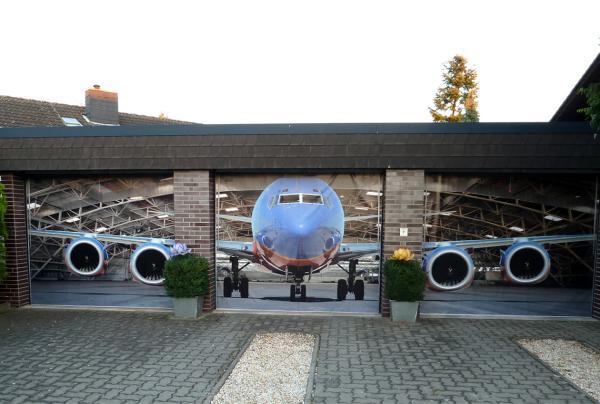 3D наклейки на ворота гаражные идеи фото самолет несколько гаражей