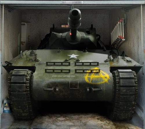 3D наклейки на ворота гаражные идеи фото танк