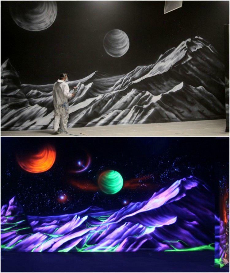 Аэрография флуоресцентными красками фото рисунок космоса планетна стене