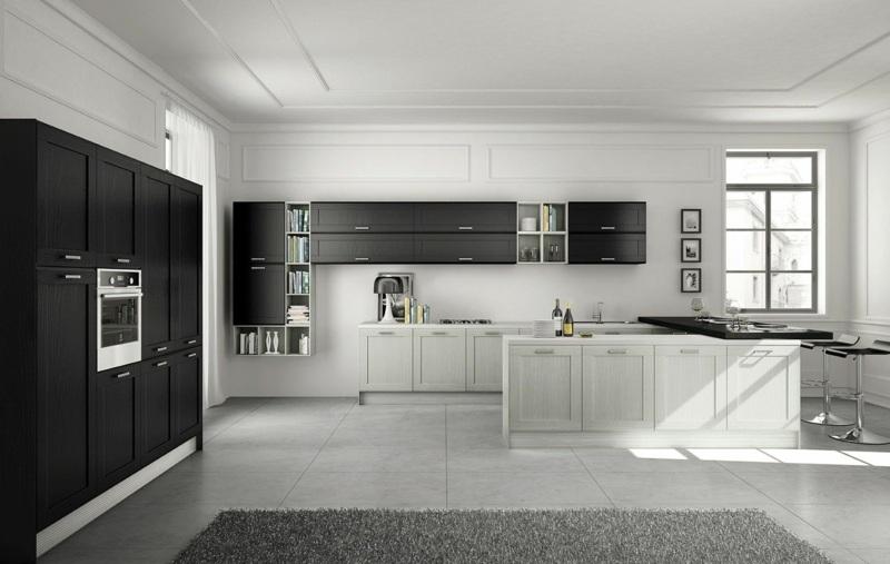 дизайн черно белой кухни кухни фото интерьер фасады