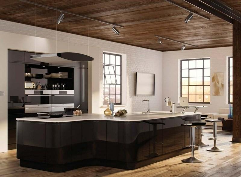 дизайн черной глянцевой кухни фото интерьер белая столешница