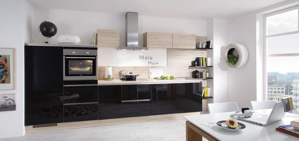 дизайн черной глянцевой кухни фото интерьер с деревом