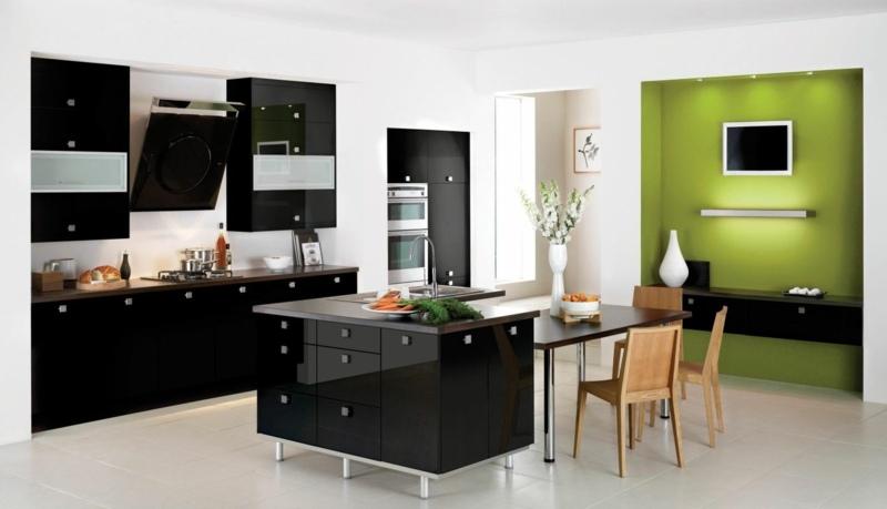 дизайн черной кухни фото интерьер глянцевый зеленая стена