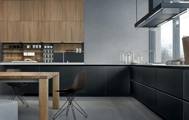 дизайн черной кухни фото интерьер матовая с деревянными фасадами
