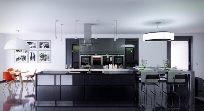 дизайн черной кухни фото интерьер матово-глянцевой