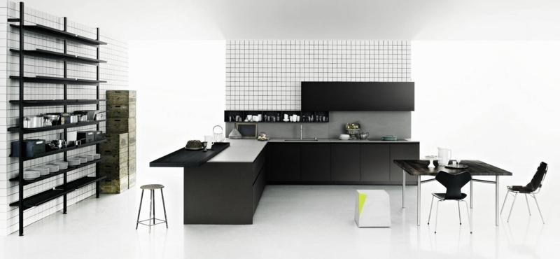 дизайн черной кухни фото интерьер мозаика плитка черный стеллаж