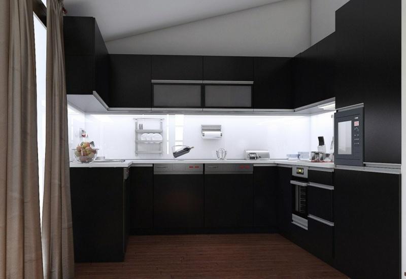 дизайн черной кухни фото интерьер с белым стеклянным фартуком бежевые занавески