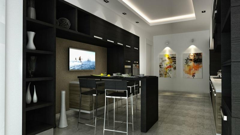 дизайн черной кухни фото интерьер с белым