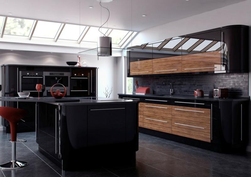 дизайн черной кухни фото интерьер с деревом глянец