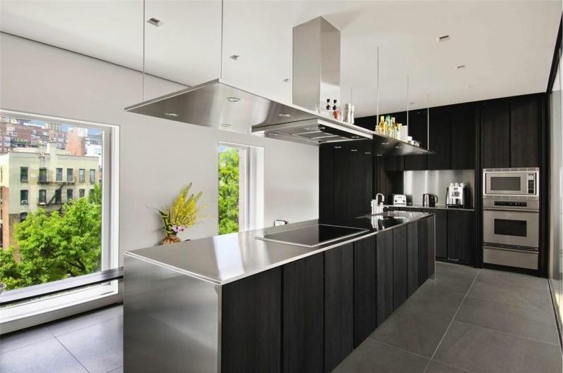 дизайн черной кухни фото интерьер со стальной столешницей