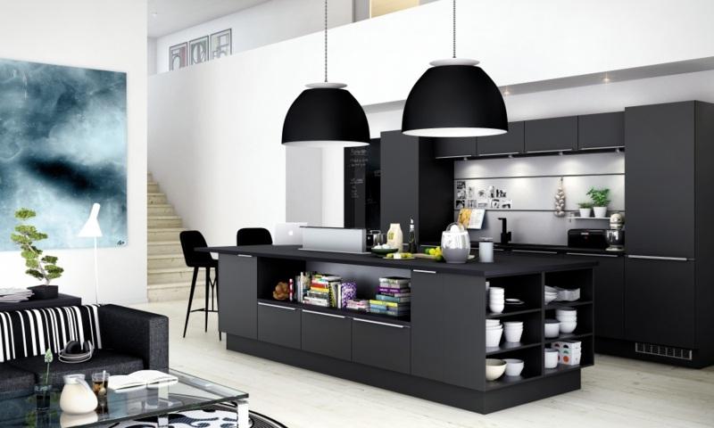 дизайн черной кухни фото интерьер студии с гостиной