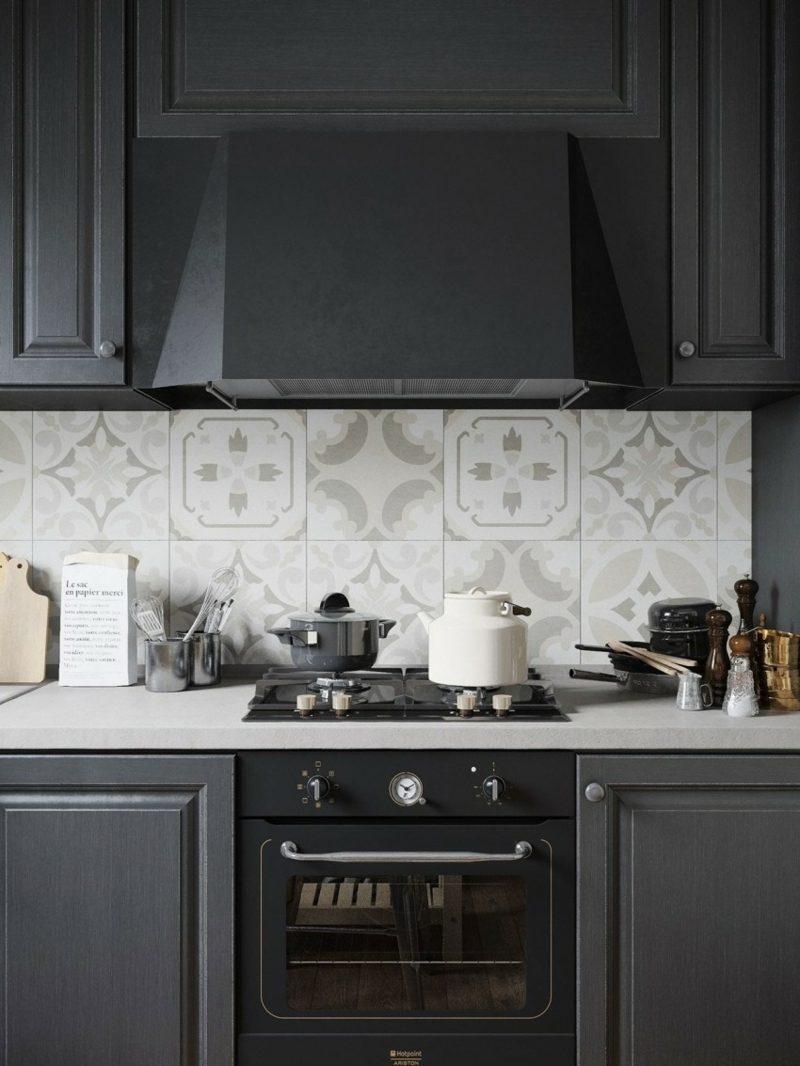 дизайн черной матовой кухни фото интерьер фартук кафельная плитка с узором