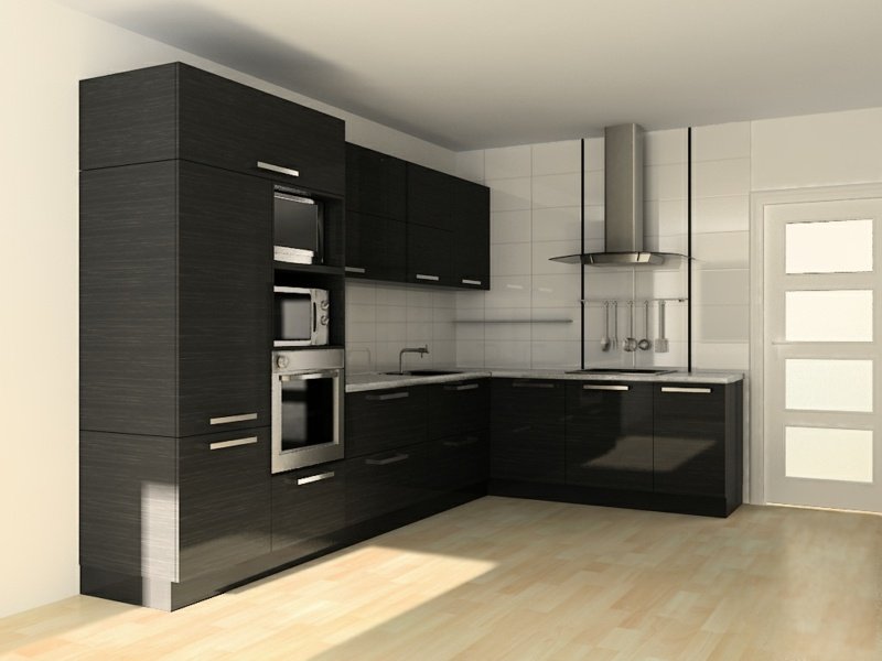 дизайн черной угловой кухни фото интерьер