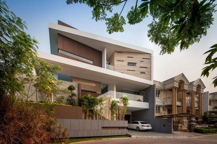 дом премиум класса дизайн фото фасад гараж бежевые тона