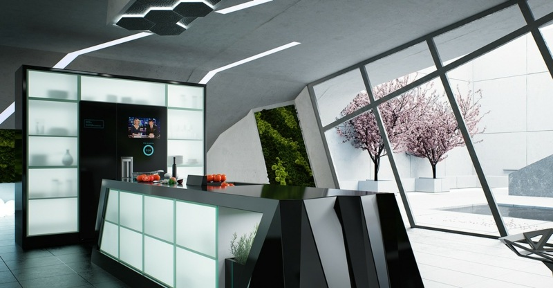 футуристический дизайн черной кухни фото интерьер стеклянные фасады