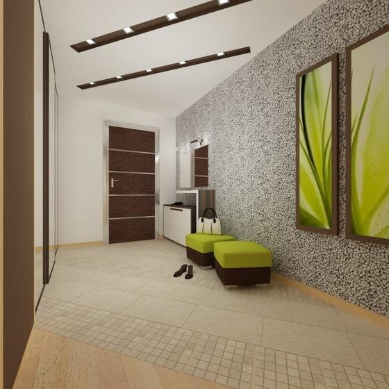 идеи дизайна коридора фото облицовка стен галькой зеленый табурет картина