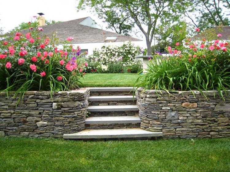 идея садовой бетонной лестницы своими руками с натуральным камнем