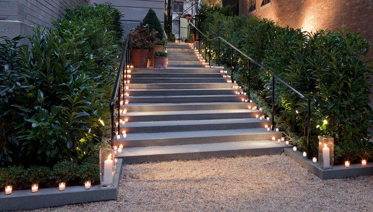 идея садовой лестницы своими руками из бетона с подсветкой