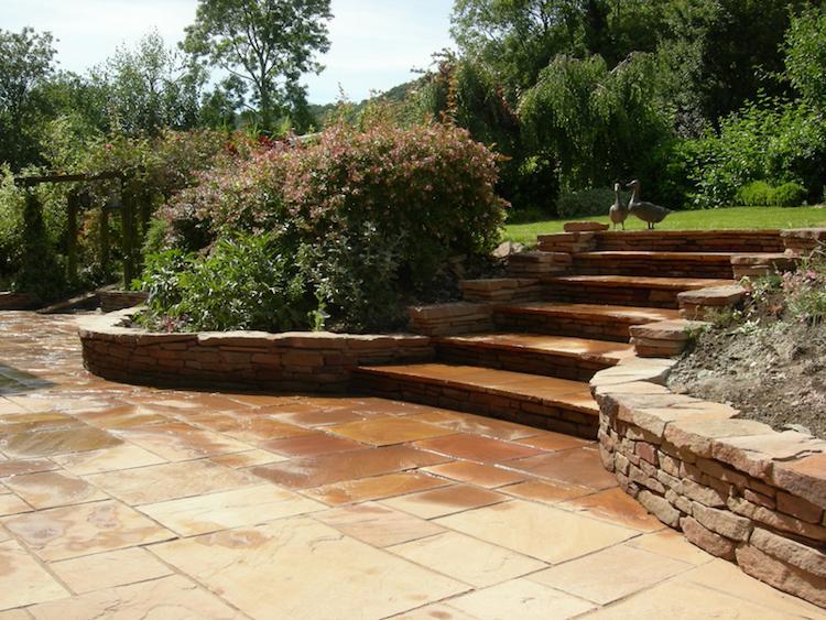 идея садовой лестницы своими руками из натурального камня