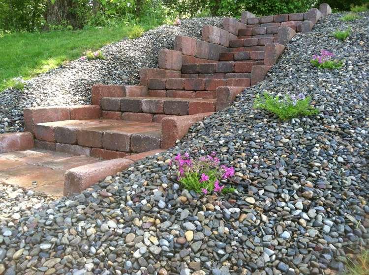 идея садовой лестницы своими руками клинкерный кирпич щебень