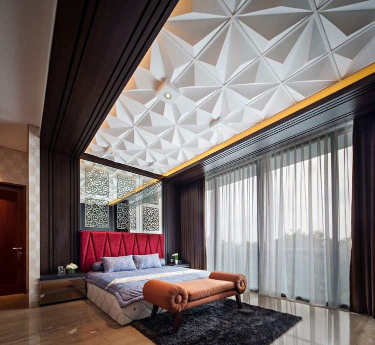 идея современного дизайна потолка фото белые 3д-панели