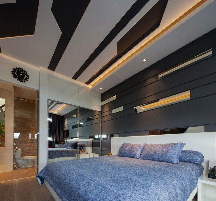 идея современного дизайна потолка фото черно-белые 3д-панели