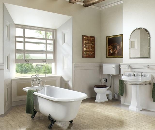 комната ванная ретро стиль фото белая