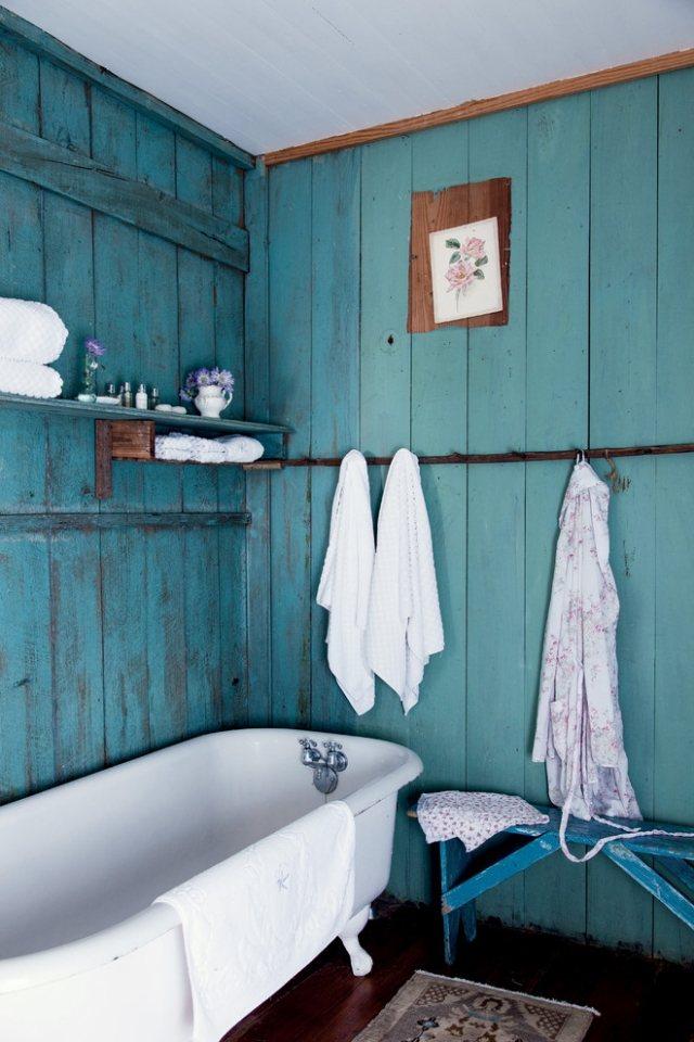 комната ванная ретро стиль фото бирюзовый дерево