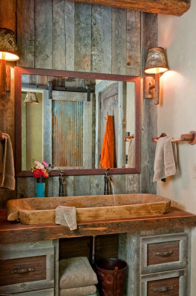 комната ванная ретро стиль фото деревянная раковина