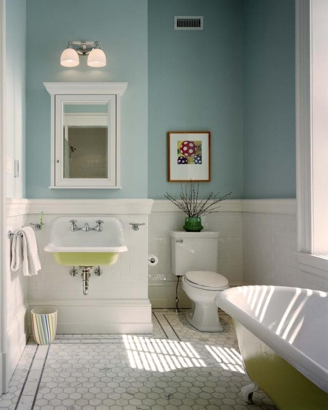 комната ванная ретро стиль фото голубой зеленый мозаика пол
