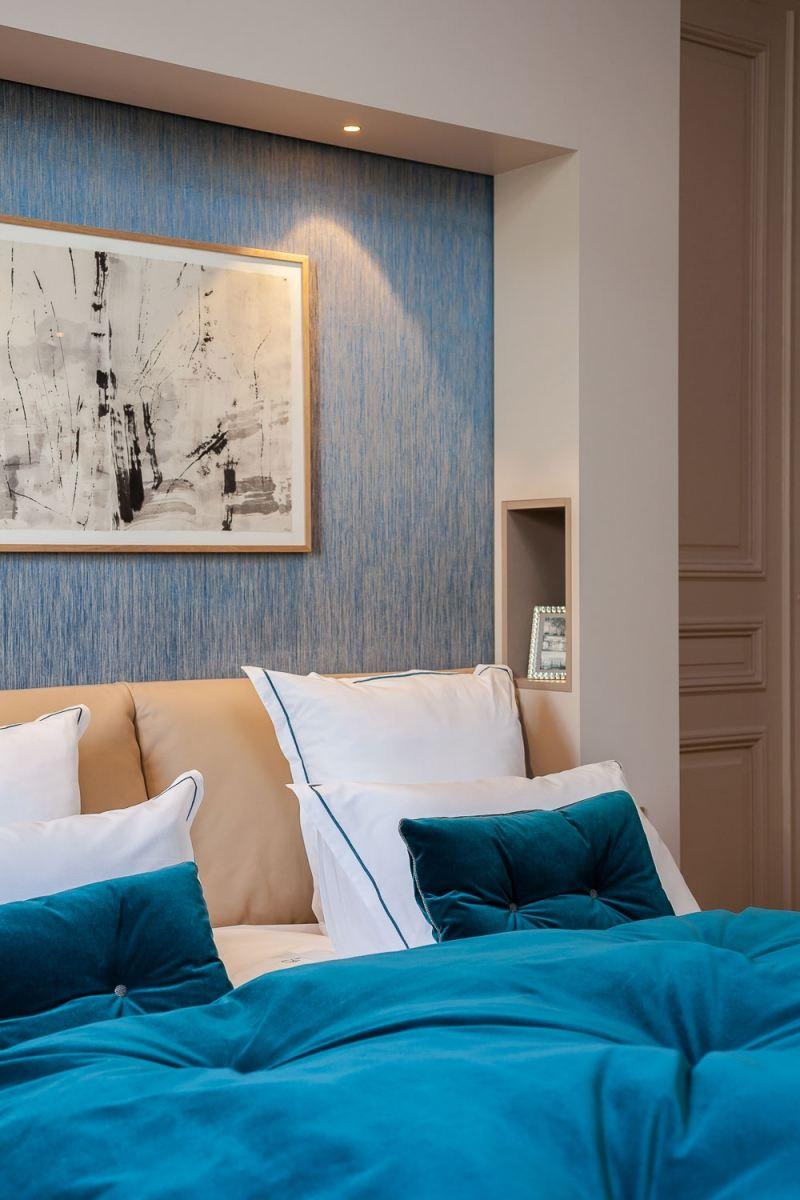 современная спальня фото бежевый голубой