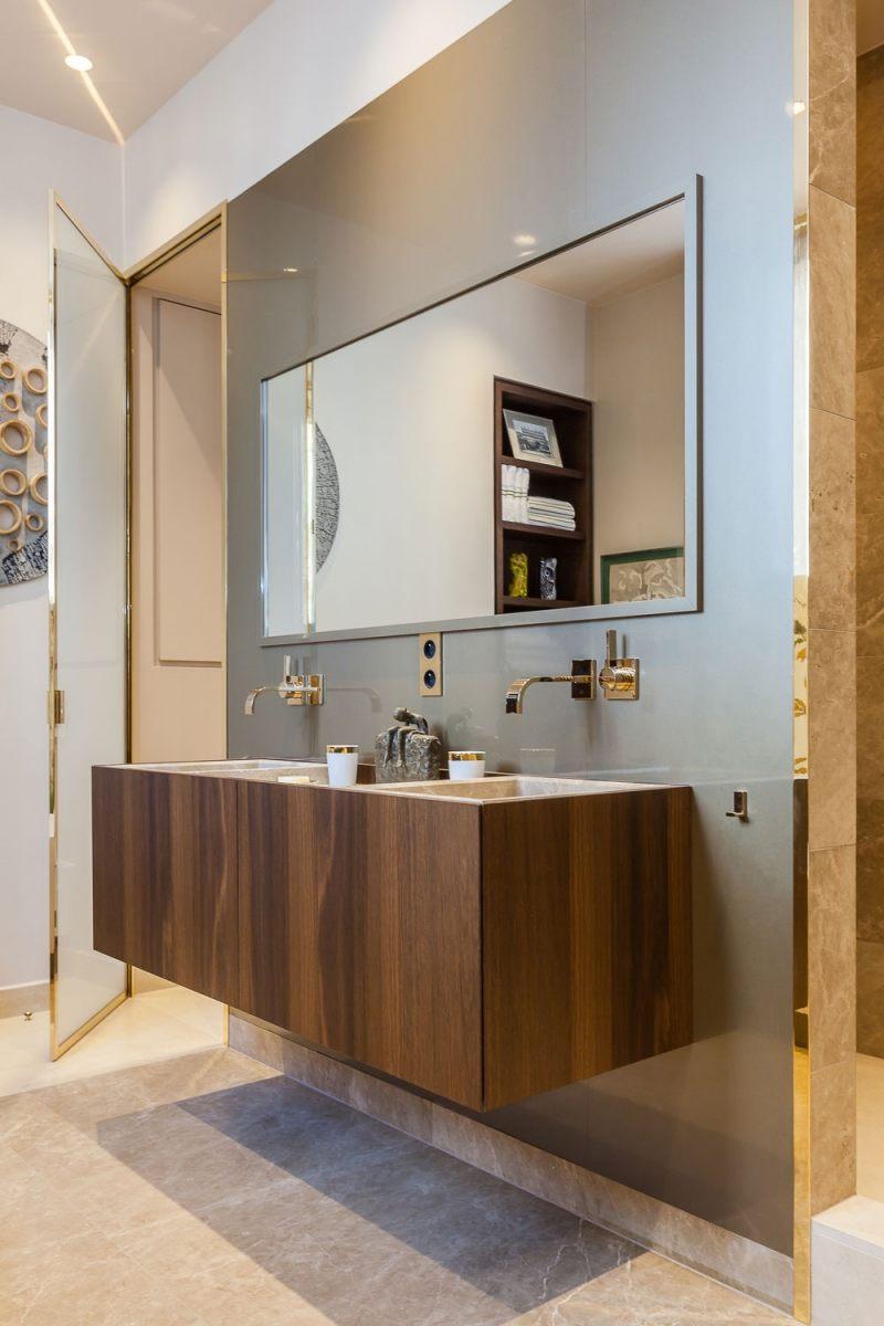 современная ванная дерево мрамор фото