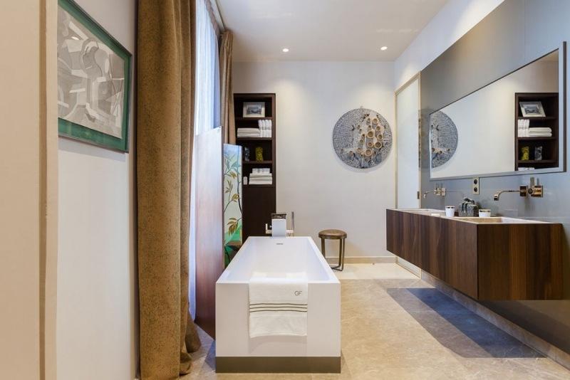 современная ванная фото дерево мрамор искусство