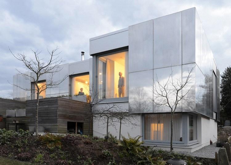 современный фасад зеркальный фото алюминиевые пластины