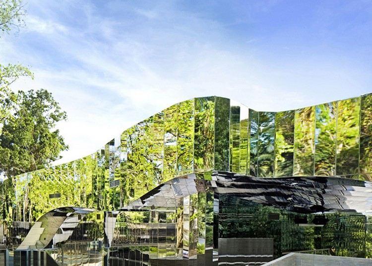 современный фасад зеркальный фото камуфляжная архитектуа