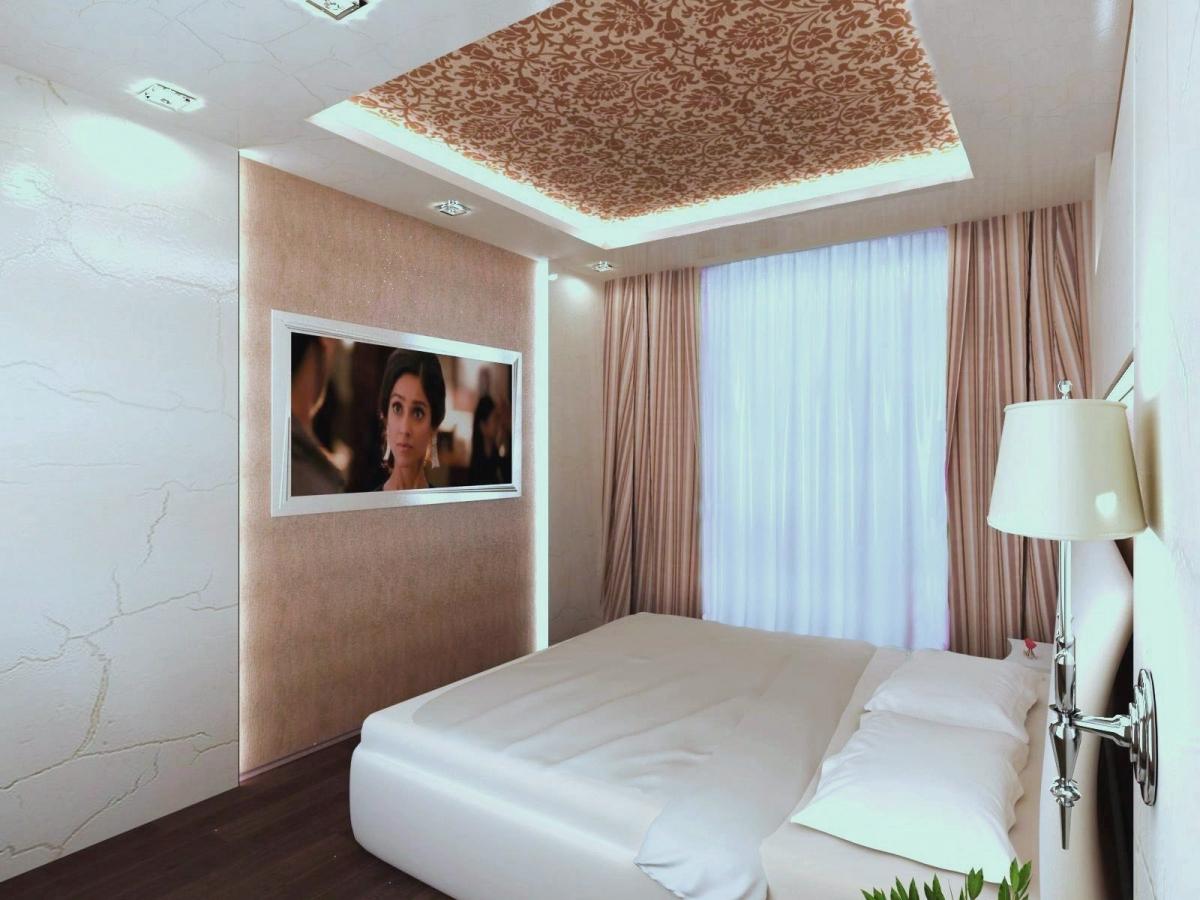 спальня в стиле арт-деко в интерьере дизайн зонирование подсветка