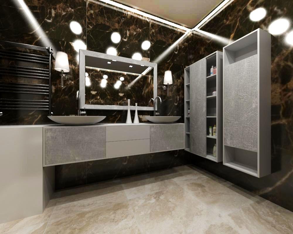 ванная в стиле арт-деко в интерьере дизайн черные стены серебристая мебель